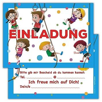 12 Lustige Kinder Einladungskarten Im Set Fur Kindergeburtstag