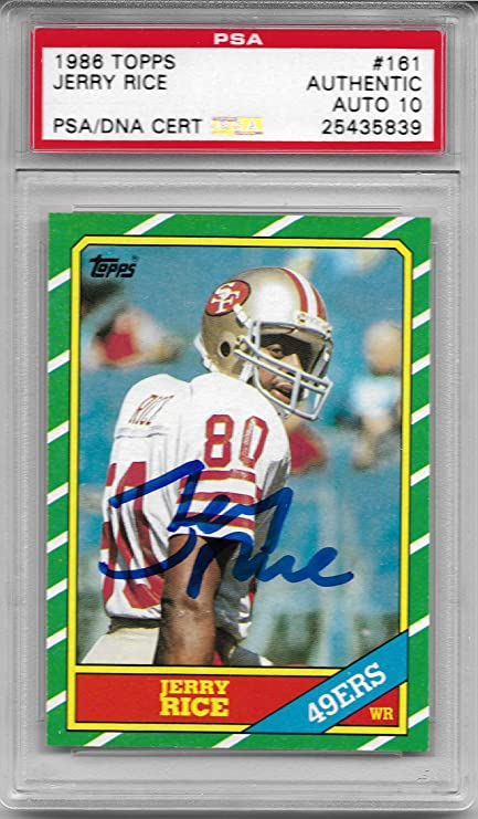 Amazoncom Jerry Rice Signed 1986 Topps Rookie Card 161 Autograph