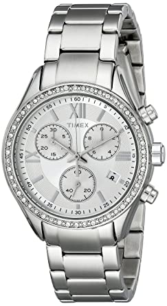 4488f170bad Timex Women s TW2P66800AB City Collection Miami Silver-Tone Bracelet Watch  with Swarovski Elements