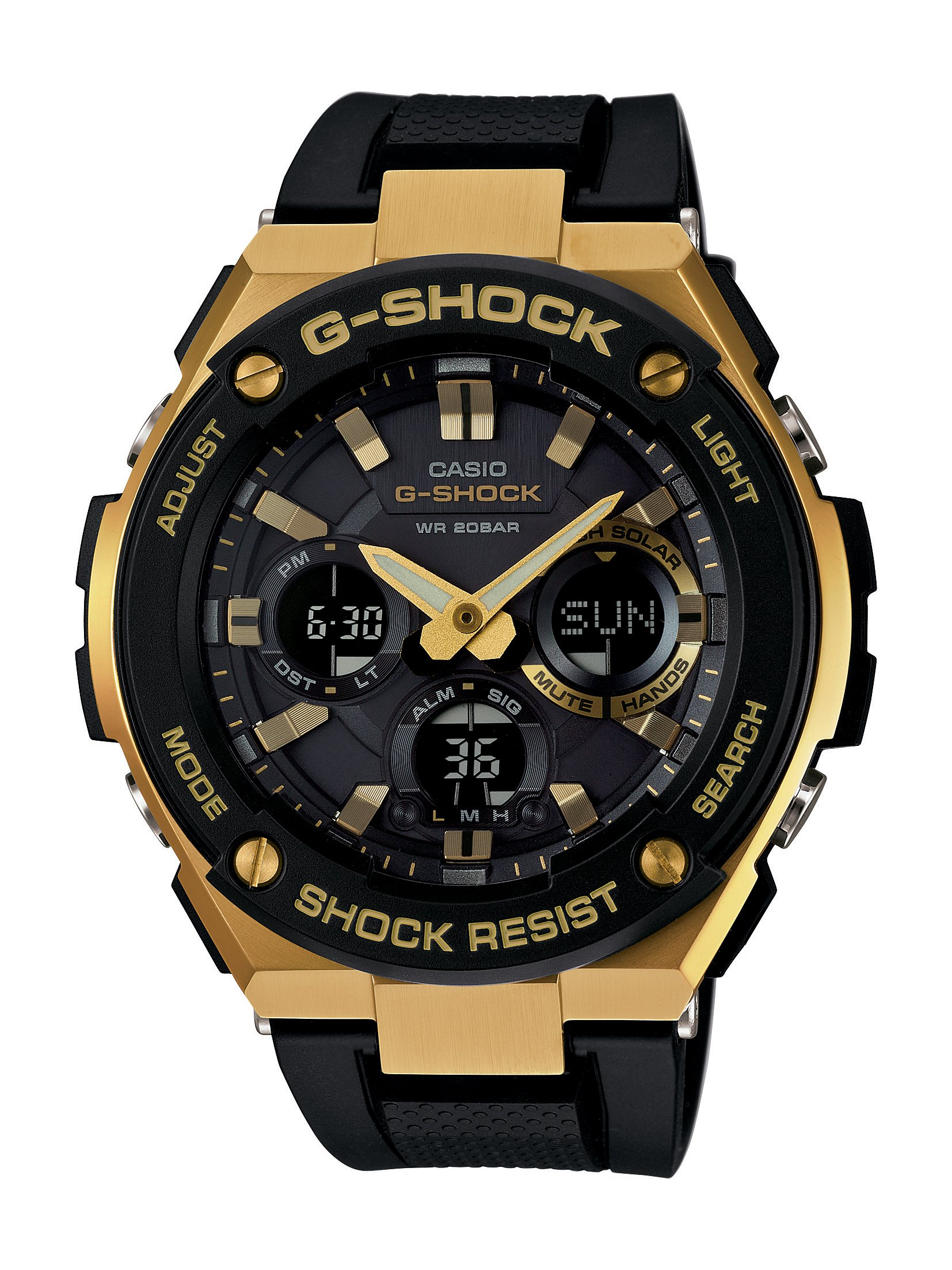 Casio G Shock Steel Series Solar Powered World Time Gw 9400dcj 1 Analog Digital Gold Black Resin Watch Gsts100g 1a