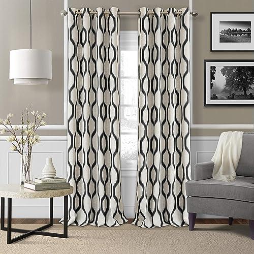 Elrene Home Fashions Renzo Ikat Geometric Linen Room Darkening Window Curtain Panel
