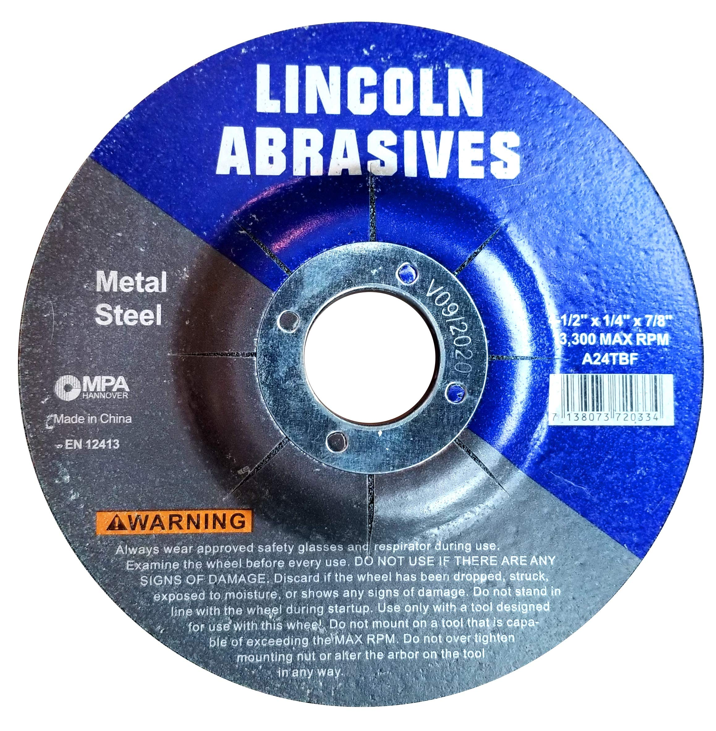 100 Pack Grinding Wheels 4.5'' x 1/4'' x 7/8'' For Metal by Lincoln Abrasives