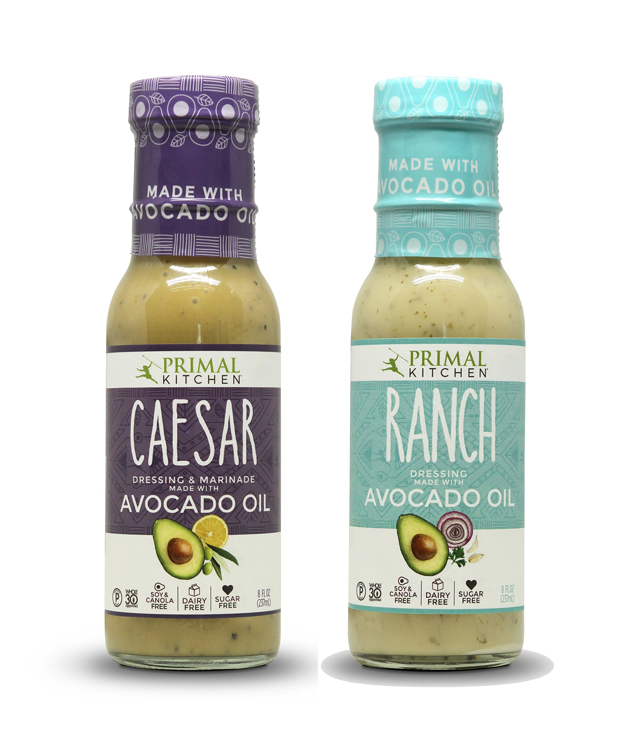 Primal Kitchen - Caesar and Ranch, Avocado Oil-Based Dressing, Whole30 and Paleo Approved (8 oz each)