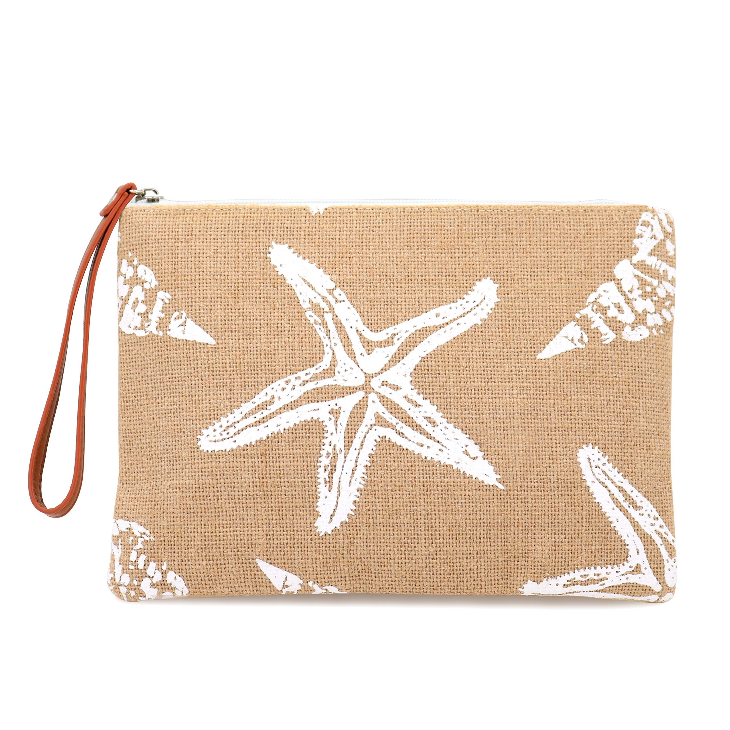 Seven Island Women Leather Canvas Cute Tropical Pineapple Print Unisex Portable Travel Evening Cosmetic Makeup Zipper Purse Wrist Pouch Clutch