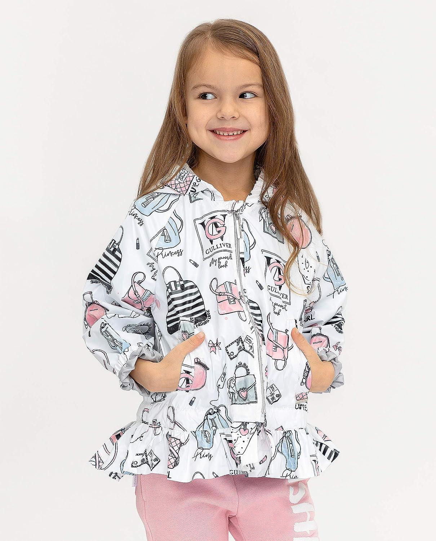 GULLIVER Kinder Regenjacke M/ädchen mit Futter Regenmantel Weiss mit Kapuze 3-8 Jahre