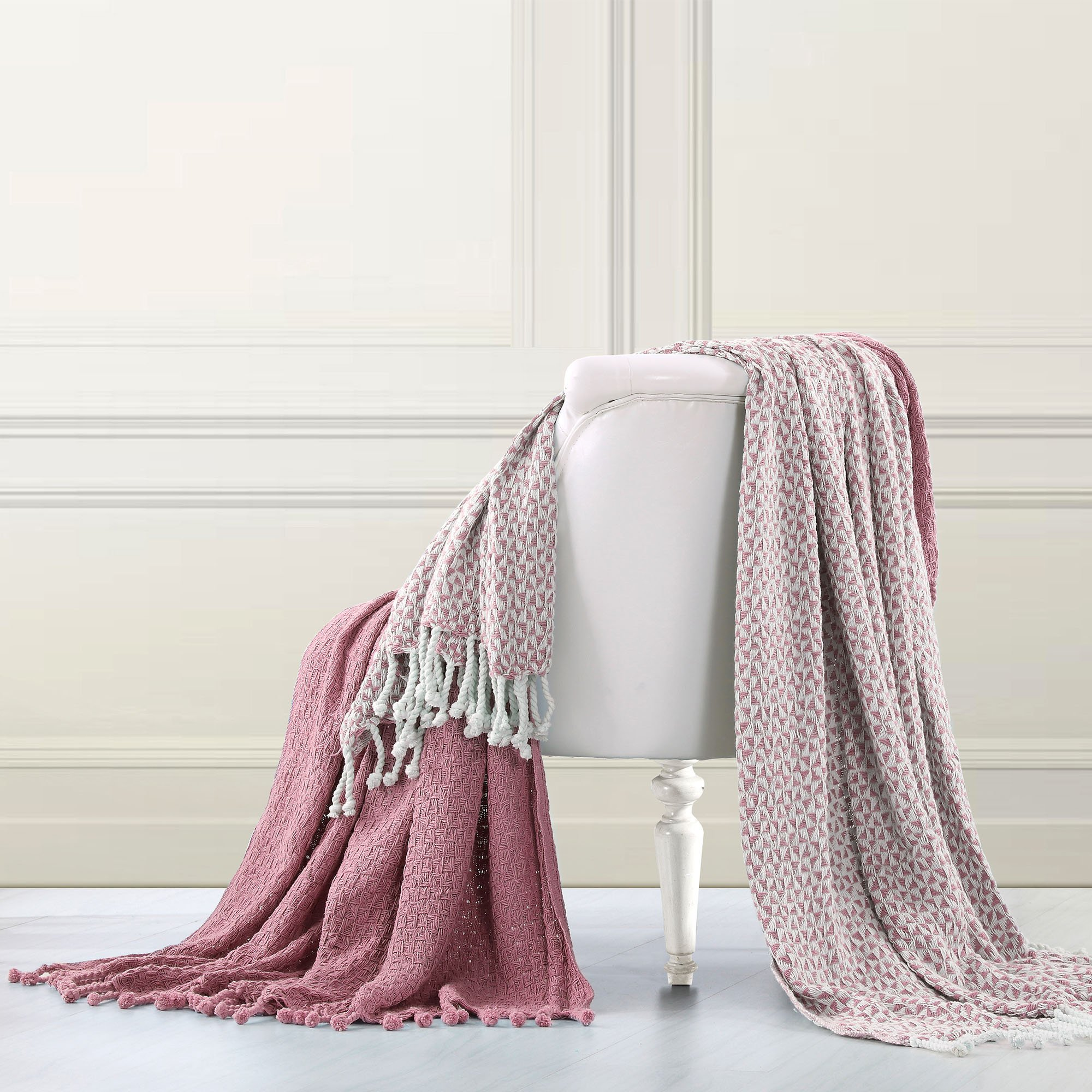 Amrapur Overseas | Picasso 100% Cotton 2 Pack Throw Blanket (Wood Rose)