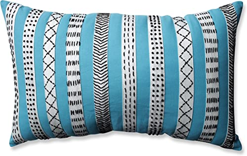 Pillow Perfect Tribal Bands Rectangular Throw Pillow, Turquiose Cream Black