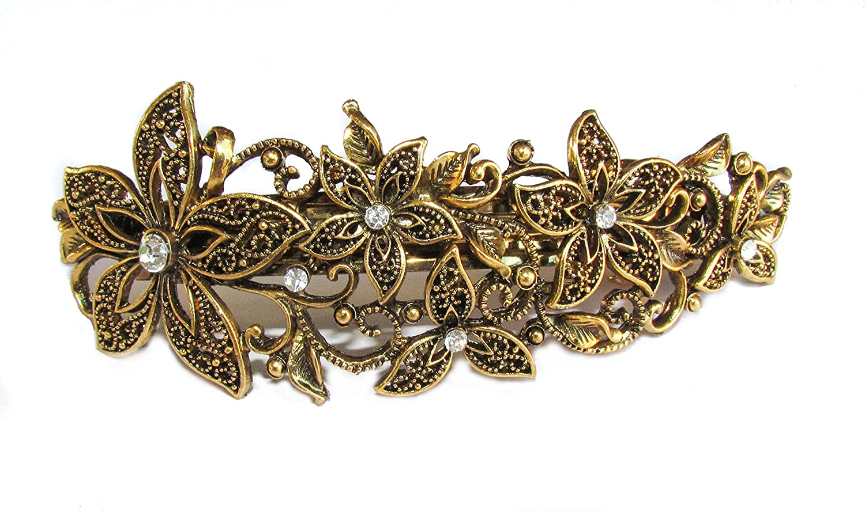 0807af525f58a Womens   Girls Elegant 12cm Intricate Metal Crystal Hair Barrette   Hair  Clip - Vintage Gold  Amazon.co.uk  Beauty