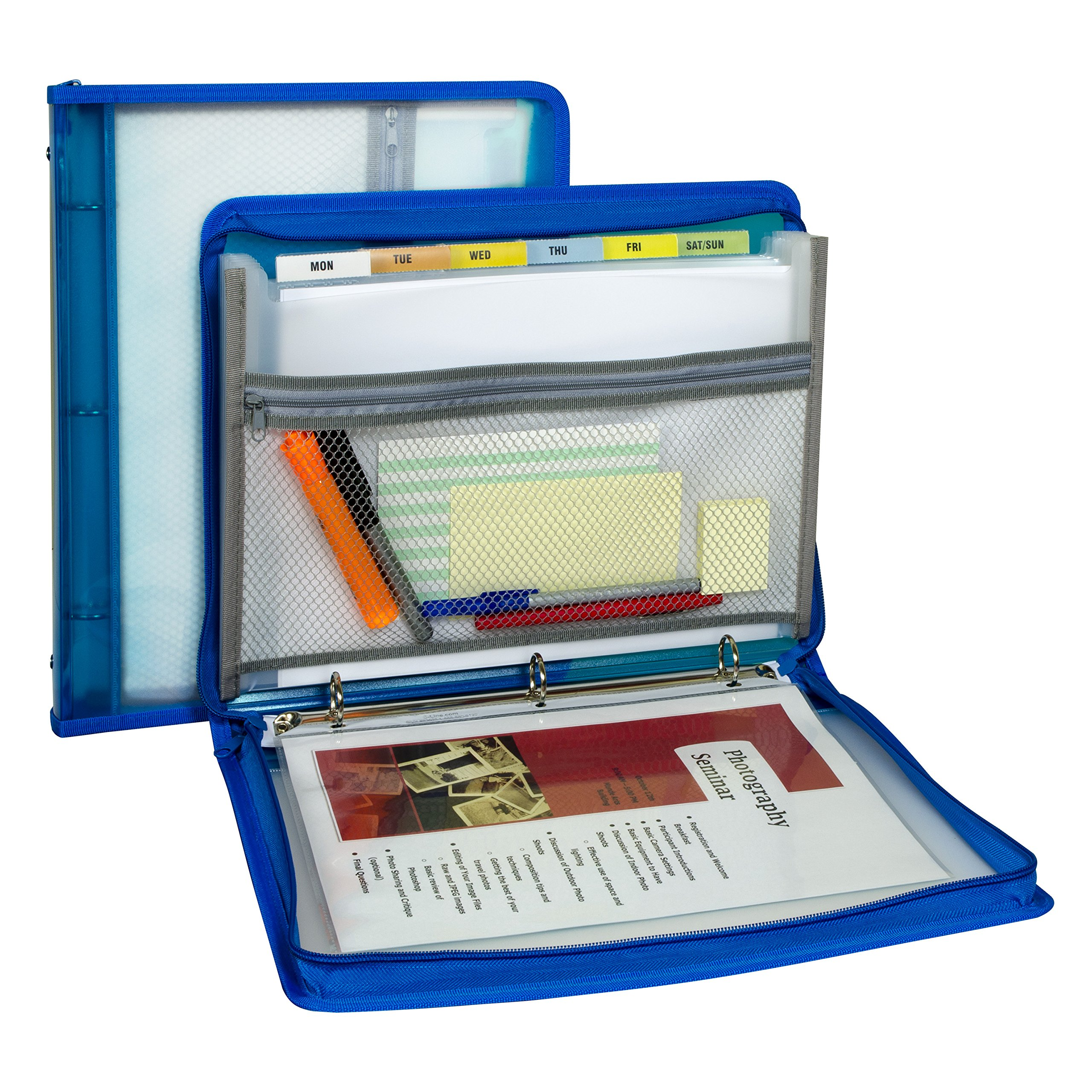 C-Line Zippered Binder with Expanding File, Blue (48115) by C-Line