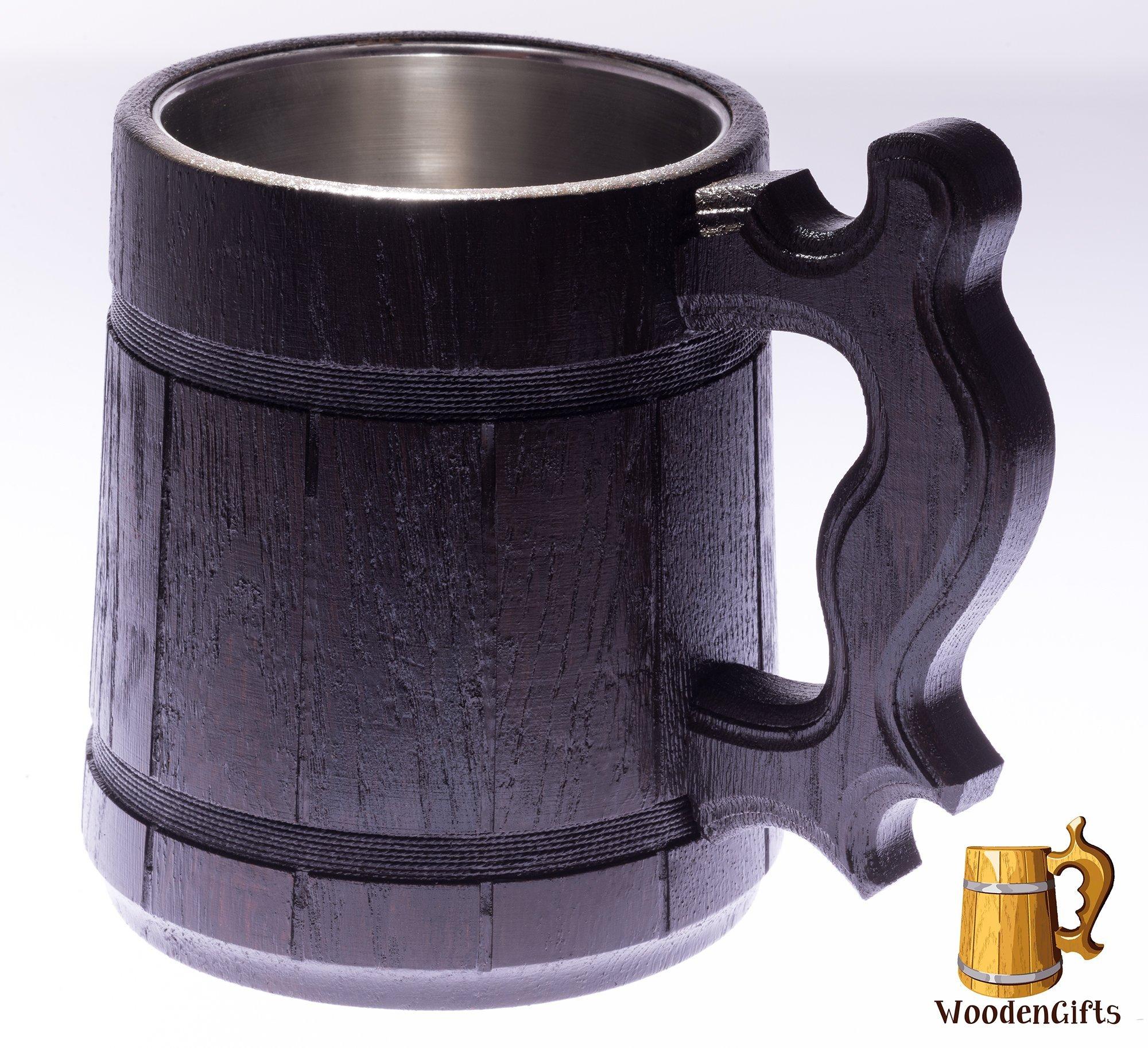 Beer Mug/Wooden Beer Mug/Tankard / Wood Mug By WoodenGifts - 0.6 Litres Or 20oz Wooden Mug - Wooden Coffee Mug with Stainless Steel Cup Inside