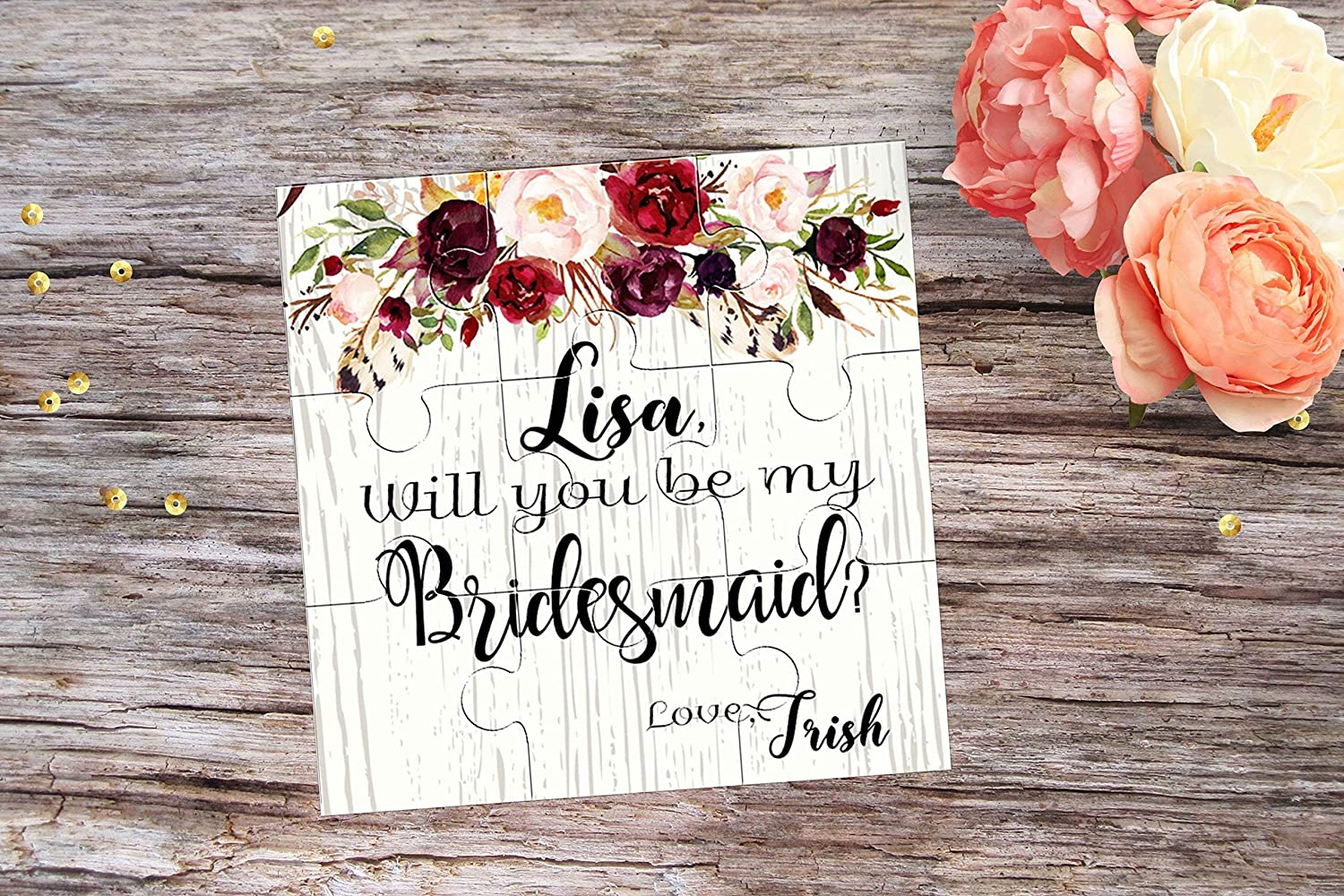 Will You Be My Bridesmaid Proposal Be My Maid of Honor Flower Invitation Will You be My Flowergirl Puzzle Invitation