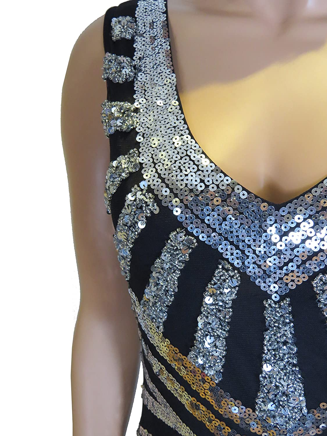 1920's Gatsby Flapper Silver Deco Frindge hem Embellished Dress