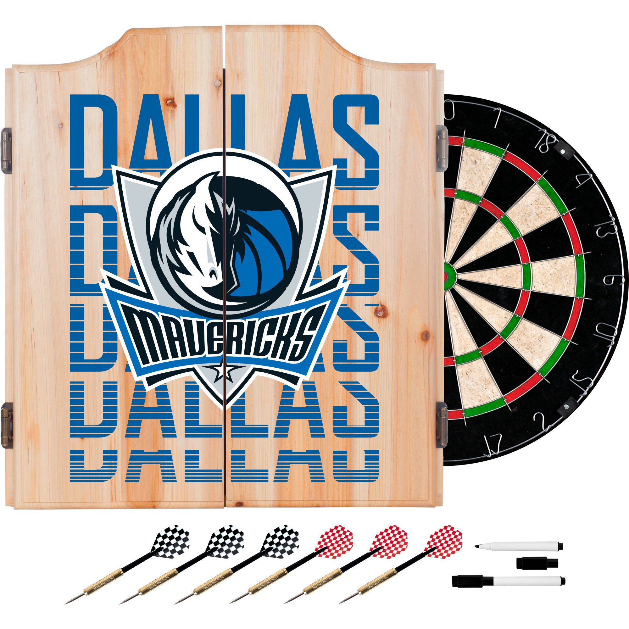 Trademark Gameroom NBA7010-DM3 NBA Dart Cabinet Set with Darts & Board - City - Dallas Mavericks