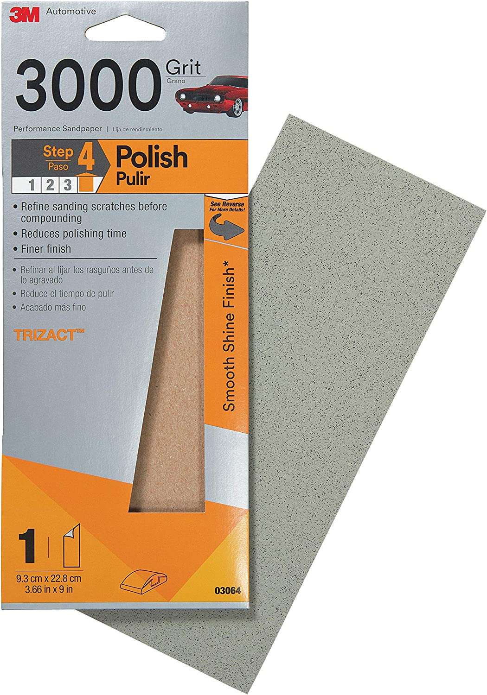 "3M 03056 Trizact 3-2//3/"" x 9/"" 5000 Grit Performance Sandpaper"