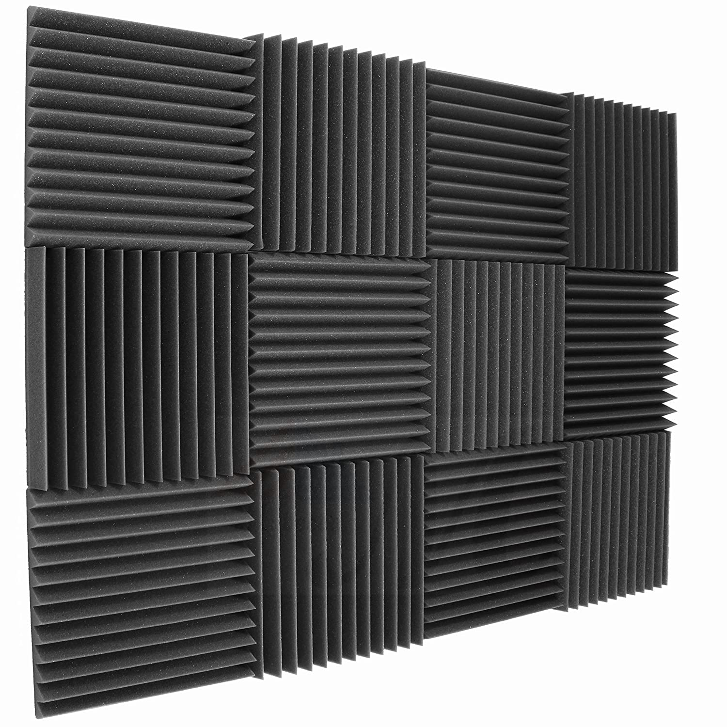 "12 Pack Acoustic Wedge Studio Soundproofing Foam Wall Tiles 12"" X 12"" X 2"" (High Density) Made in USA"