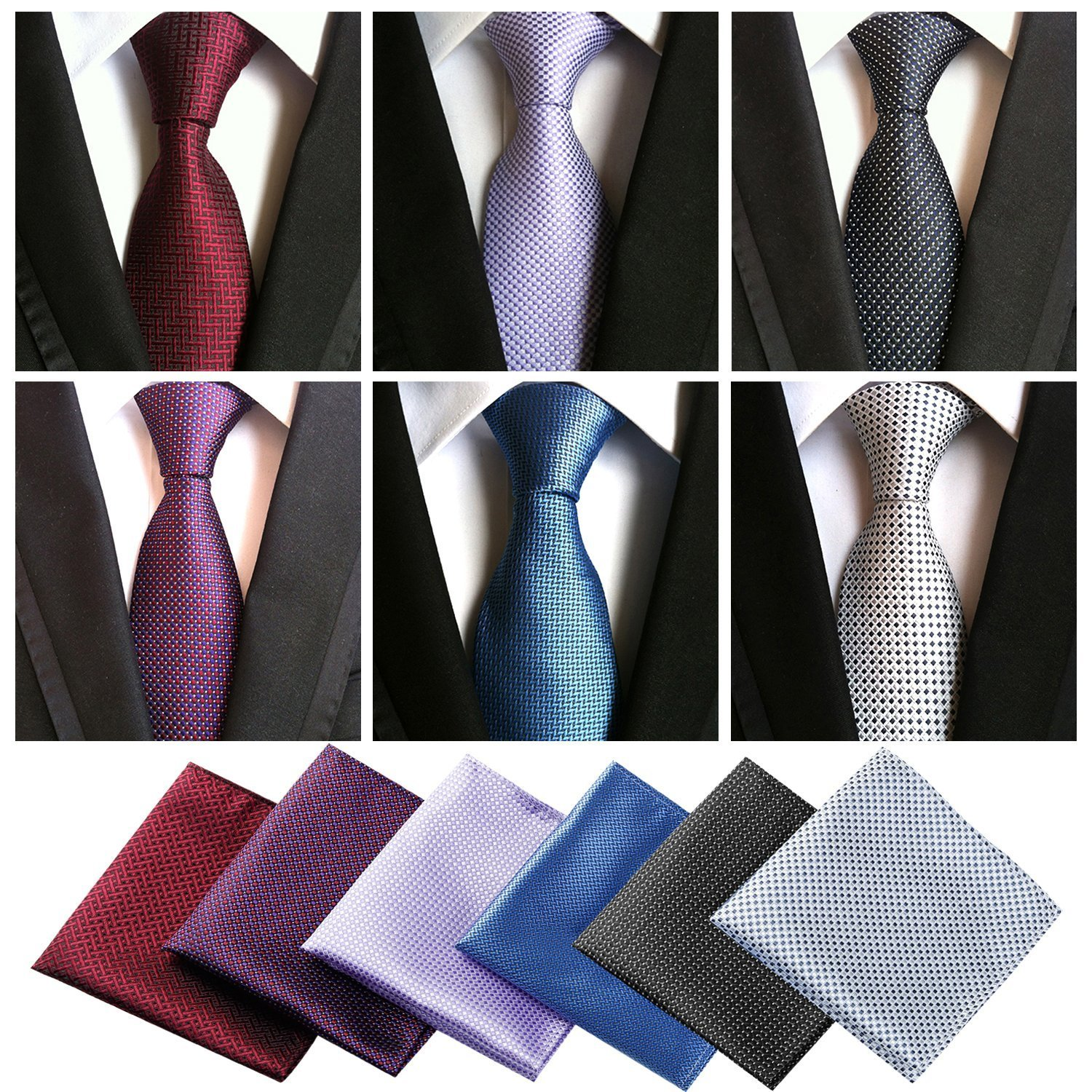 382a21a11f41 Package includes: 6 high quality Ties and 6 Pocket Squares (Same material)  With a free pocket square holder and one delicate gift box.