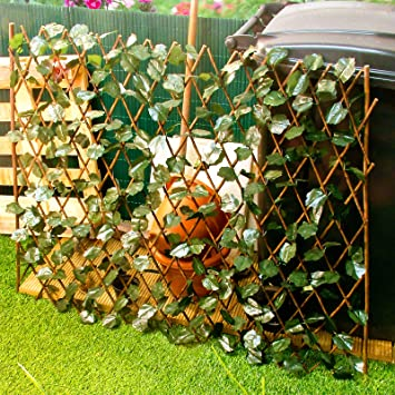 Expandable Trellis With Leaves   Extends To 2m Long Garden Wooden Screen
