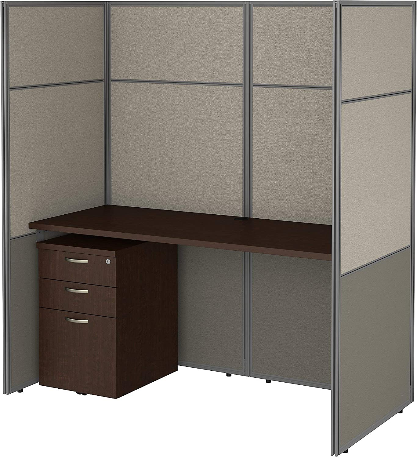 Bush Business Furniture Easy Office Cubicle Desk with File Cabinet and 66H Closed Panels Workstation, 60Wx60H, Mocha Cherry