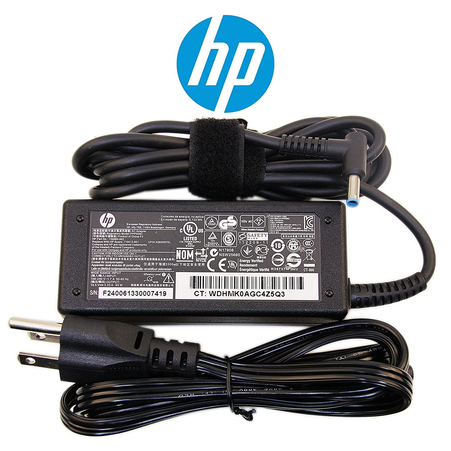 HP Original 65W Slim Charger for ProBook Laptop Notebook Power-Adapter-Cord