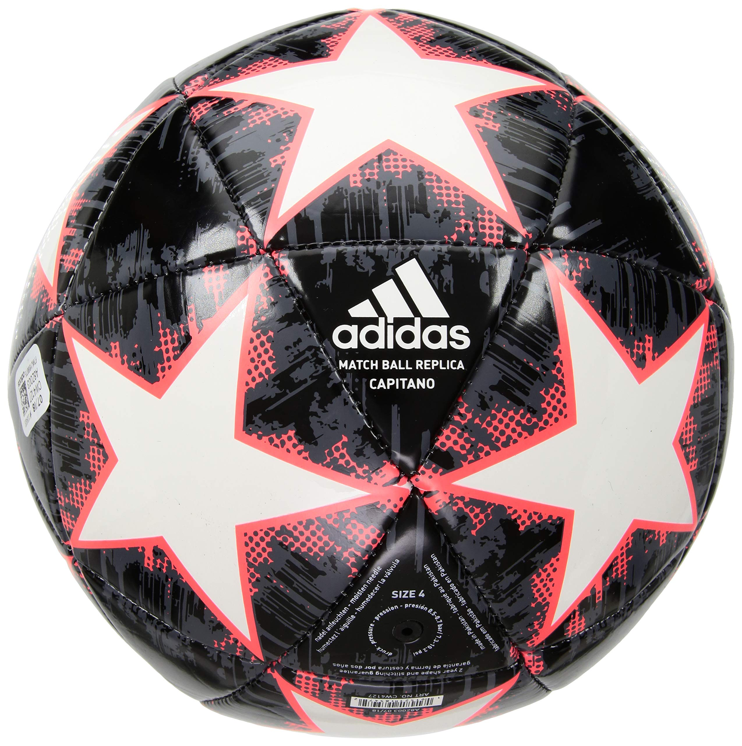 adidas Performance Champions League Finale 18 Capitano Soccer Ball, White, Size 3