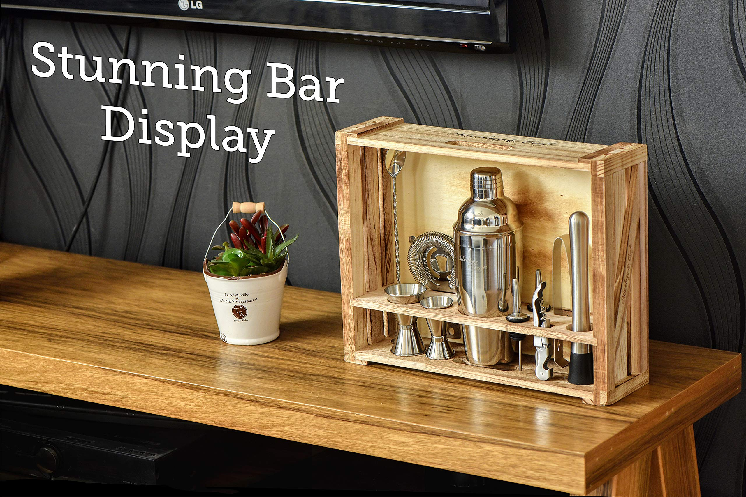 Mixology Bartender Kit: 11-Piece Bar Tool Set with Rustic Wood Stand - Perfect Home Bartending Kit and Cocktail Shaker Set For an Awesome Drink Mixing Experience - Exclusive Cocktail Recipes Bonus by Mixology & Craft (Image #5)