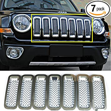 Black, without key hole Upgrade Clip in Version 7 Pcs Front Mesh Grille Front Grill Inserts Kit for Jeep Wrangler Rubicon Sahara JK 2007-2017 Bestong Tongbest