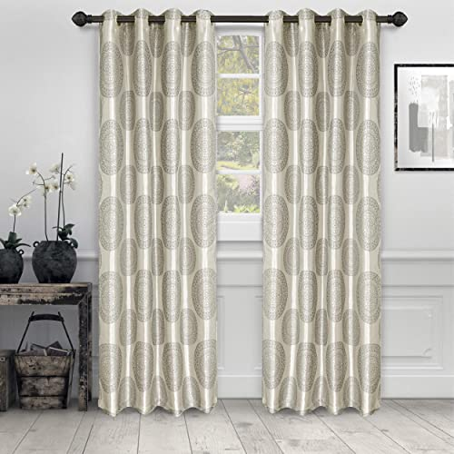 SUPERIOR Cordon Jacquard Curtains with Grommet Header, 52 x 108 , Grey, Set of 2