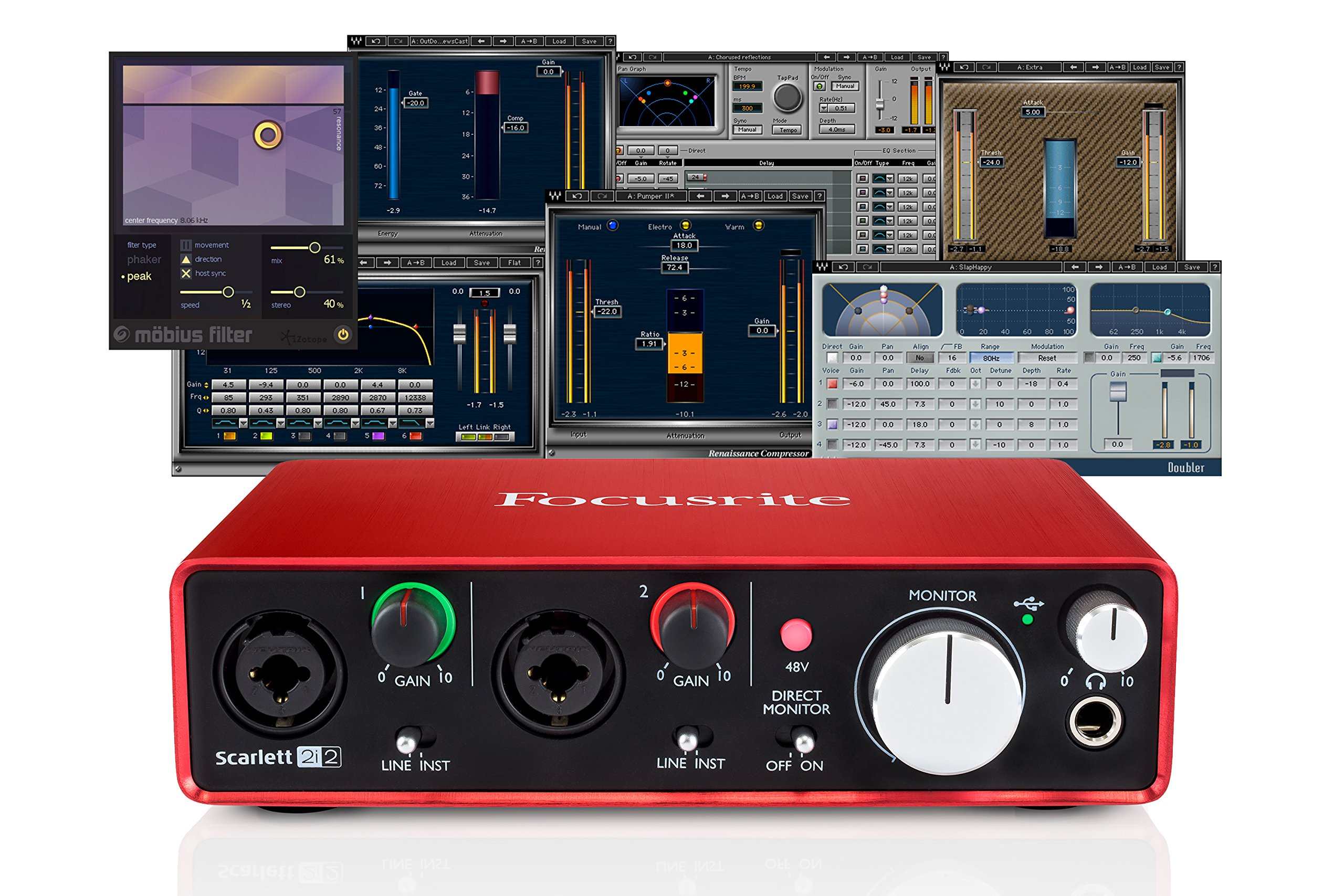Focusrite Scarlett 2i2 (2nd Gen) USB Audio Interface + Waves Musicians 2 + iZotope Mobius Filter Bundle