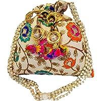 THE TAN CLAN Women's Ethnic Silk Potli Bag/Potli Purse/Bridal Wristlet, Gift for Her