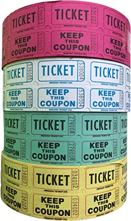 4 Rolls Of 2000 Double Tickets Raffle Tickets 8 000 Total 50//50 Raffle Party