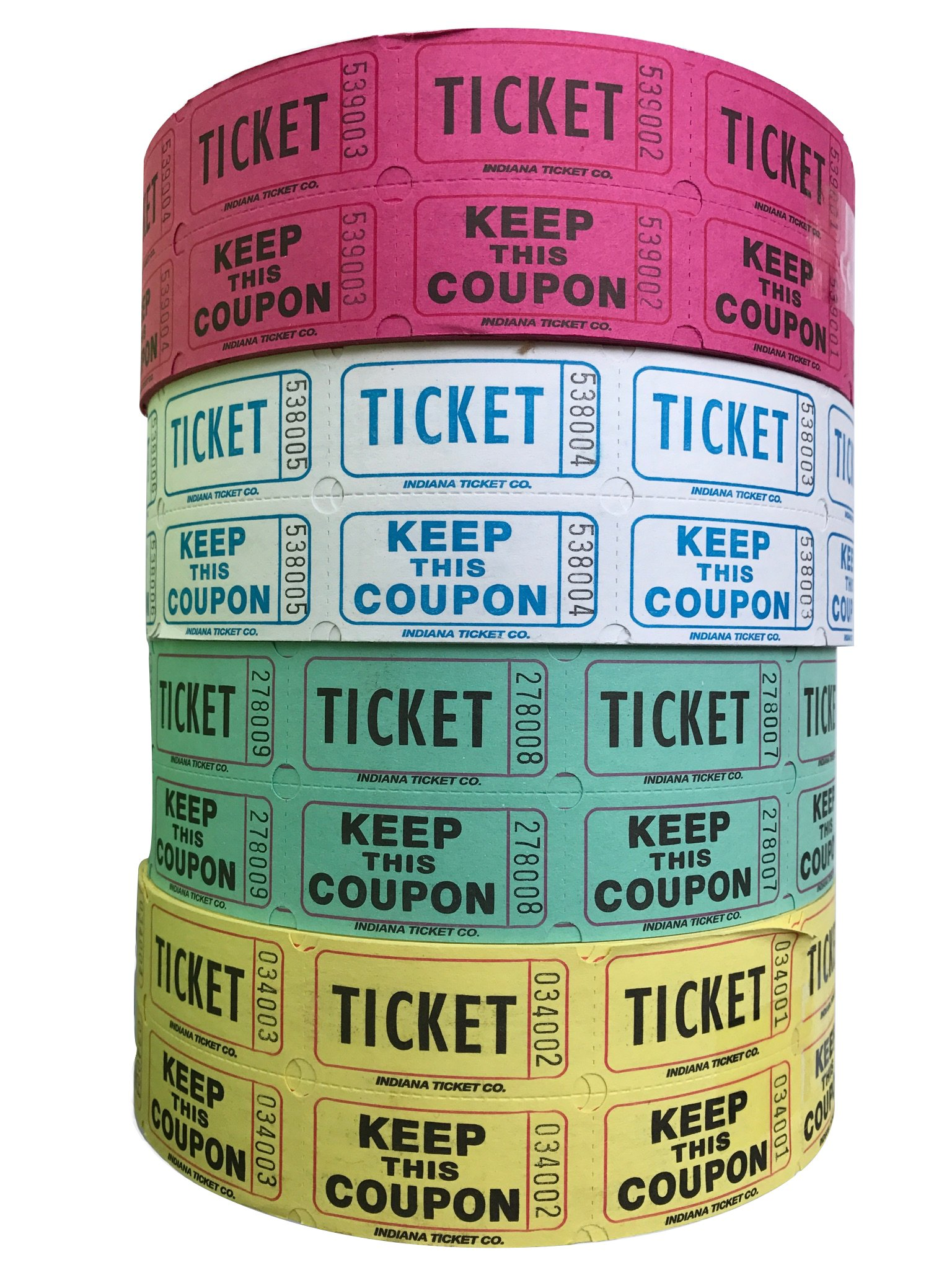 Raffle Tickets - (4 Rolls of 2000 Double Tickets) 8,000 Total 50/50 Raffle Tickets (Purple/Blueberry/Green/Yellow)) by Indiana Ticket Company