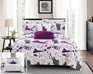 Chic Home Liberty 9 Piece Reversible Comforter New York Inspired Printed Design Bed in a Bag-Sheet Set Decorative Pillows Shams Included Size, Full, Purple