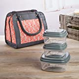 Fit & Fresh Ashland Insulated Lunch Bag Kit for Women, Includes Reusable Containers and Ice Pack, Coral Stamped Rings