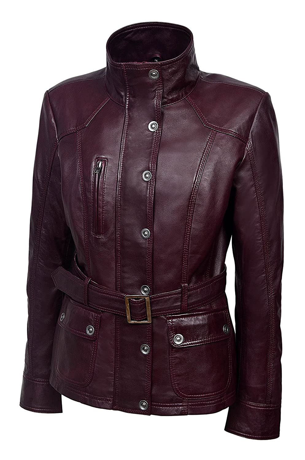 Ladies Real Leather Jacket 100/% Lambskin Classic Fashion Military Collar Rock Style 1160