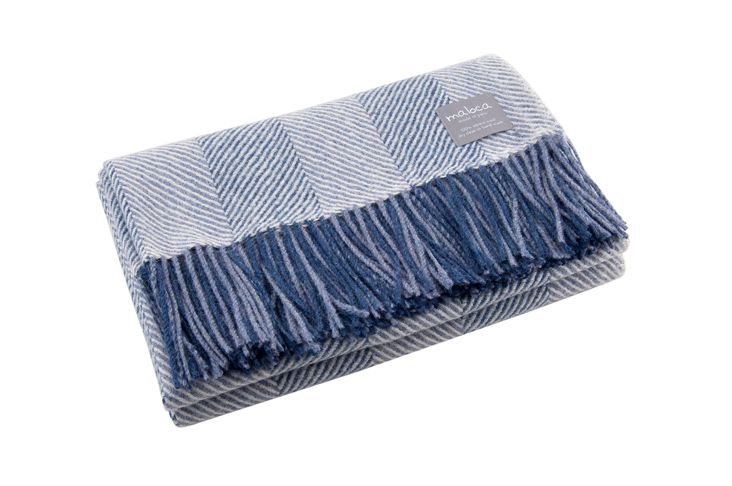 Maloca Alpaca Throw Blanket - 100% Premium Alpaca Wool Blue Heather Herringbone, Ethically Sourced, The Perfect Gift for Any Age or Occasion. Limited Production