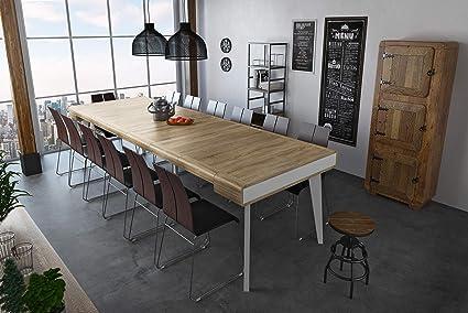 Home Innovation Table Console Salle à Manger Extensible Rectangulaire Front Arrondi Avec Rallonges Nordic Curve Jusquà 300 Cm Finition Blanc