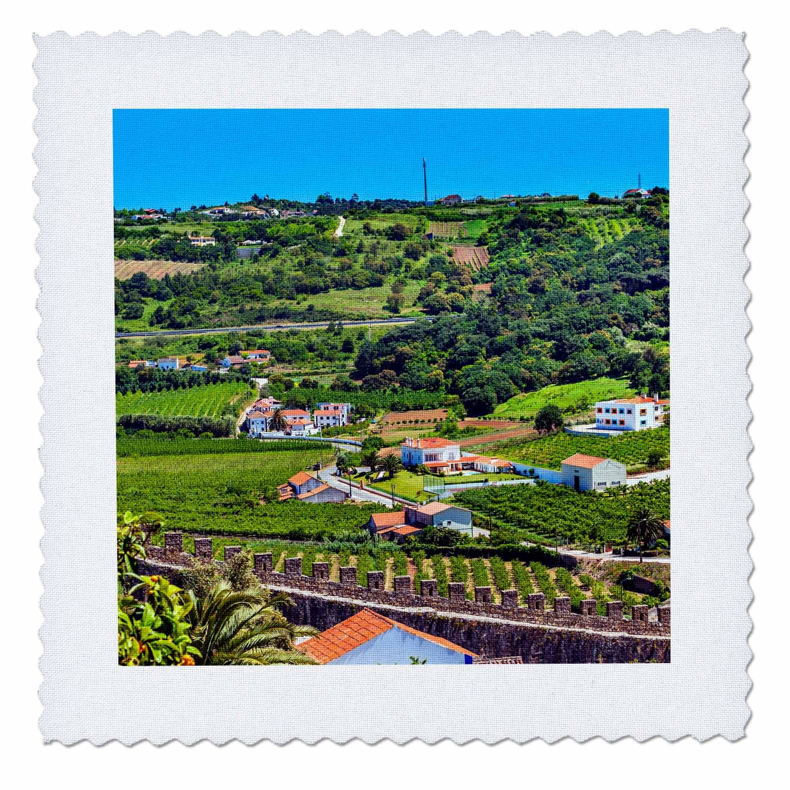3dRose Danita Delimont - Cities - Castle Walls and Countryside in a Medieval Town, Obidos, Portugal. - 12x12 inch quilt square (qs_277844_4)