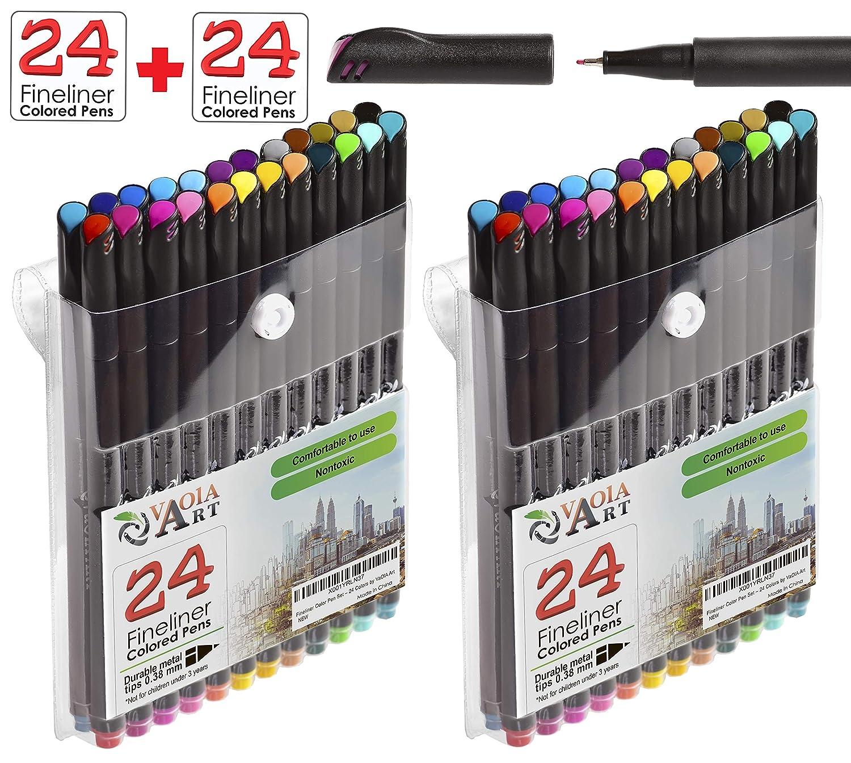 Fineliner Pens 0.38 Art Pens Colored Pens Fine Point Fine Tipped Markers Fine Line Drawing Pen Journaling Pens Fine Line Pens Porous Pens Fineliner Color Pen Set 24 Fineliner Pens