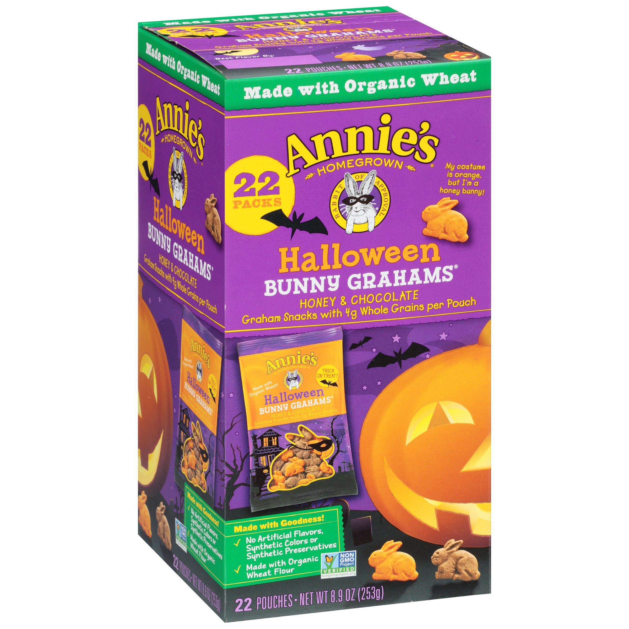 Annie's Halloween Bunny Whole Grain Graham Snacks, Honey and Chocolate, 8.9 oz