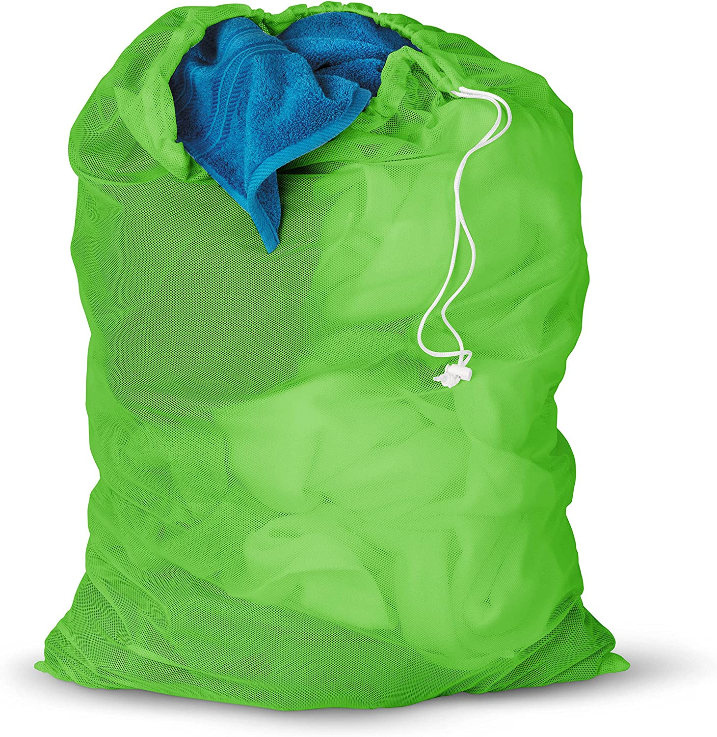 Honey-Can-Do LBG-01163 Mesh Laundry Bag with Drawstring, Green, 25-Inches L x 36-Inches H