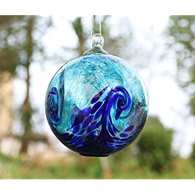 Artisan Crafts and Design 6-Inch Solar Hanging Glass Gazing Ball Outdoor Garden Décor Aqua-Blue Swirl : Garden & Outdoor