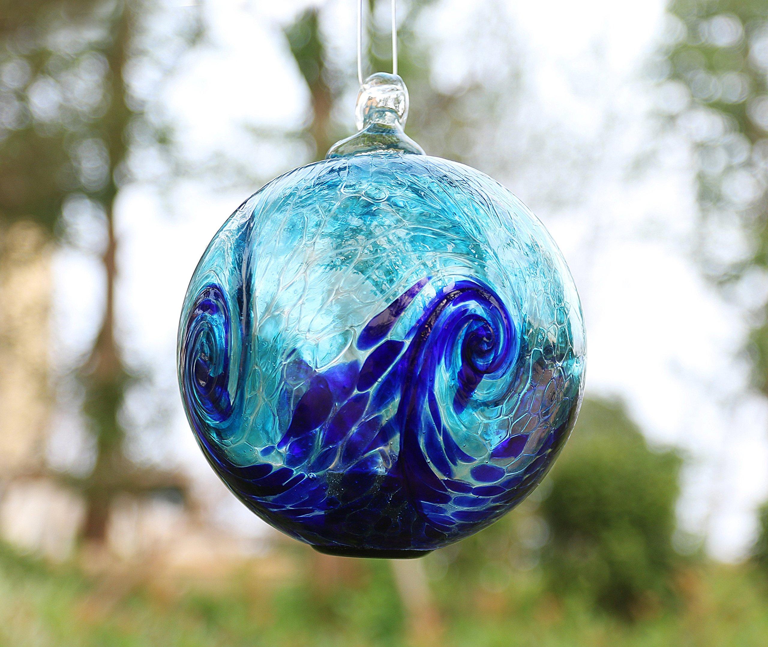 Artisan Crafts and Design 4.6-Inch Solar Hanging Glass Gazing Ball Outdoor Garden Décor Aqua-Blue Swirl
