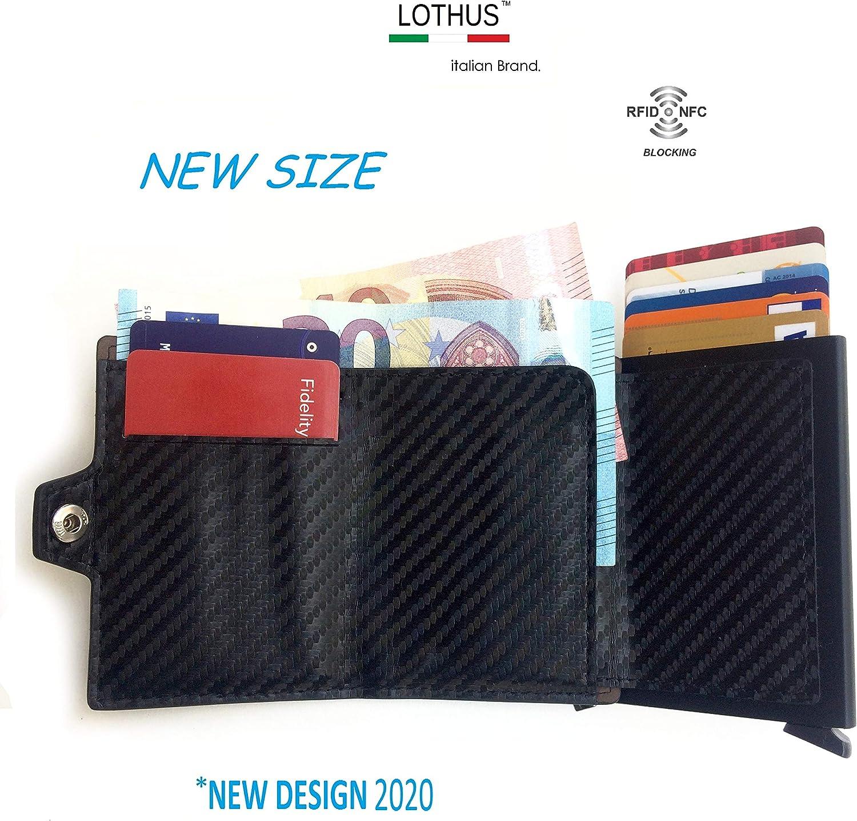 Lothus Porte-Cartes de cr/édit Portefeuille Homme Femme Slim Bloc RFID//NFC Mini Wallet Porte-Cartes de cr/édit et Porte-Billets Porte-Cartes en Cuir et Fibre de Carbone