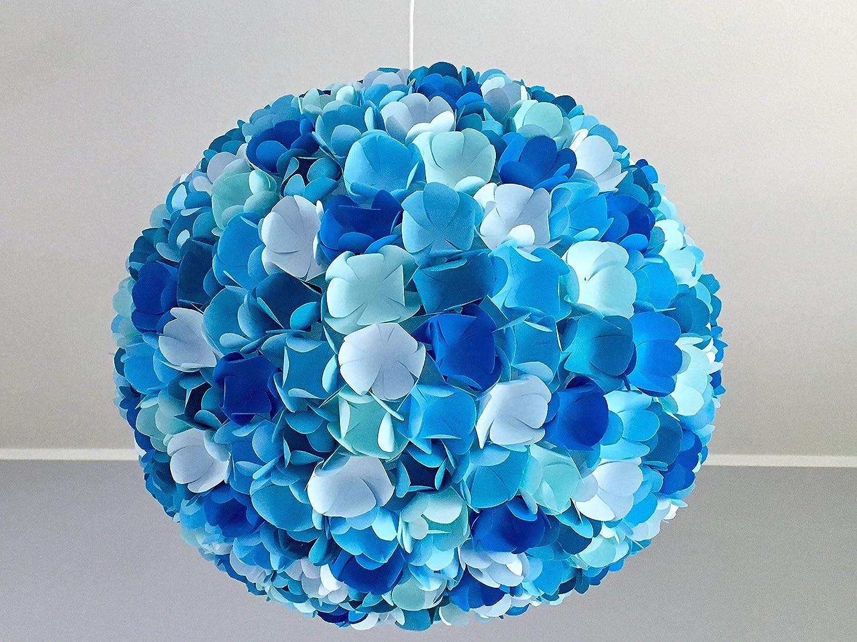Little Blue Flower Mix, blaue Lampe Leuchte Lampenschirm Pendellampe Hängeleuchte Hängelampe Papierleuchte Papierlampe Reispapierlampe Designerlampe Wohnzimmerlampe Schlafzimmerlampe Deckenlampe