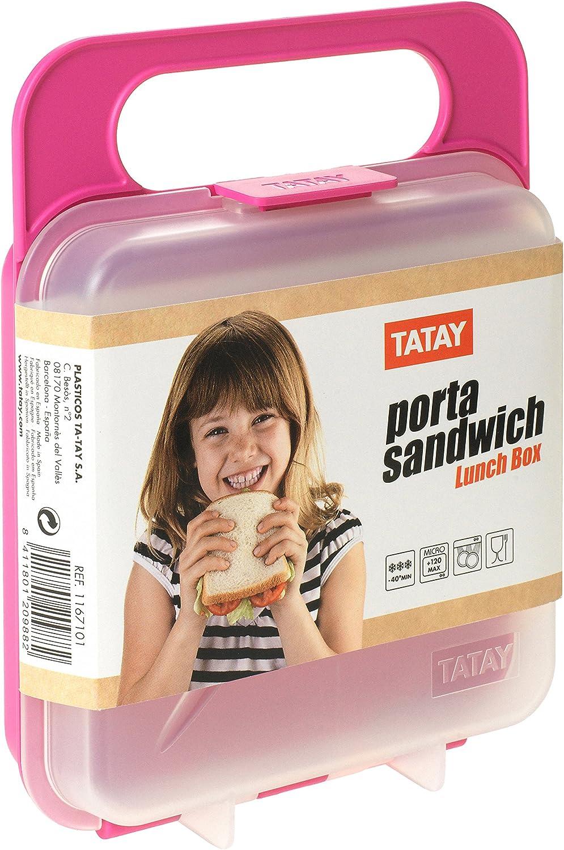 Libre de BpA Azul 18 x 14 x 4.5 cm Tatay Porta Contenedor de Alimentos para Sandwich