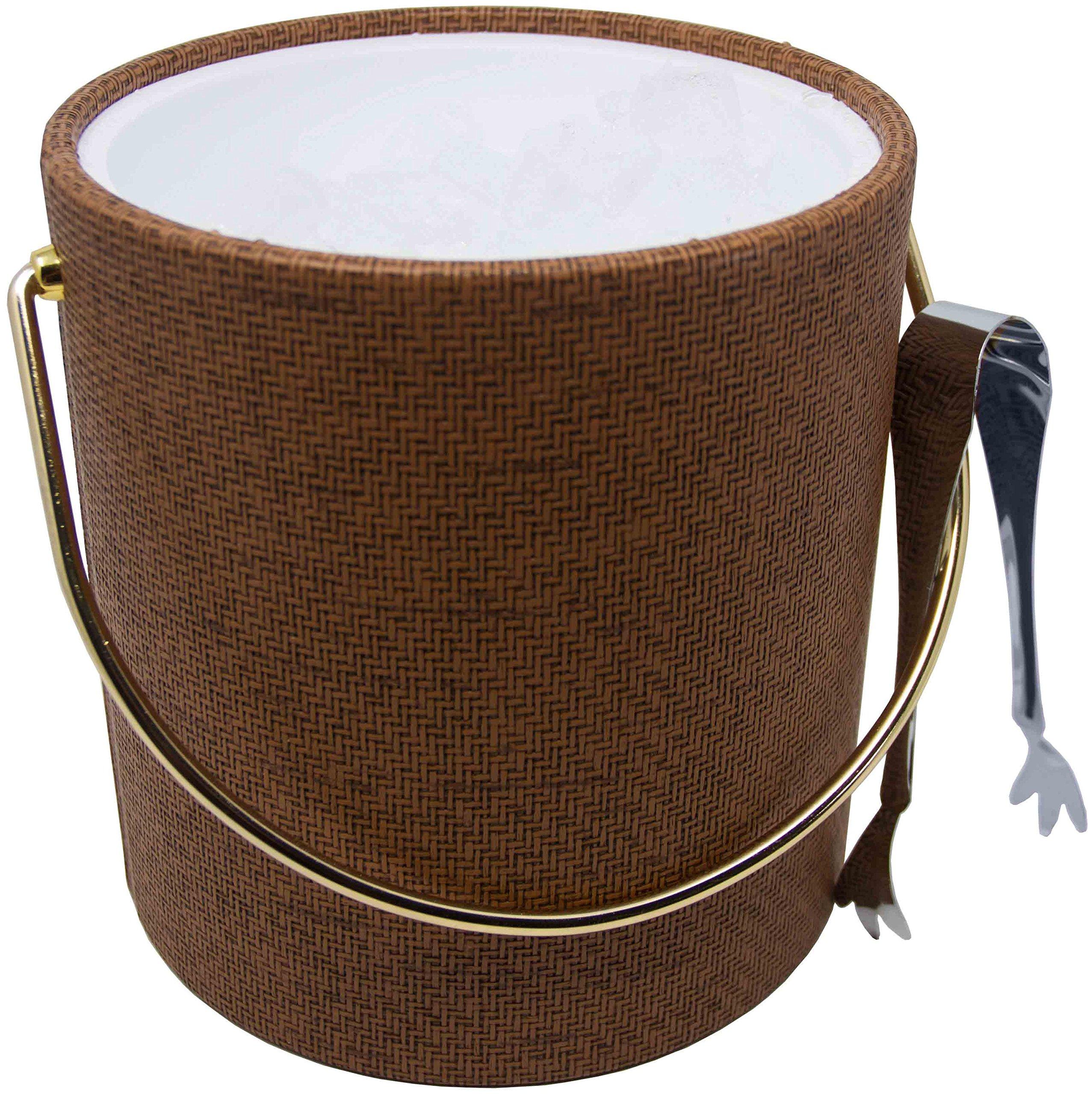 Hand Made In USA Beachwood Wicker Double Walled 3-Quart Insulated Ice Bucket With Bonus Ice Tongs