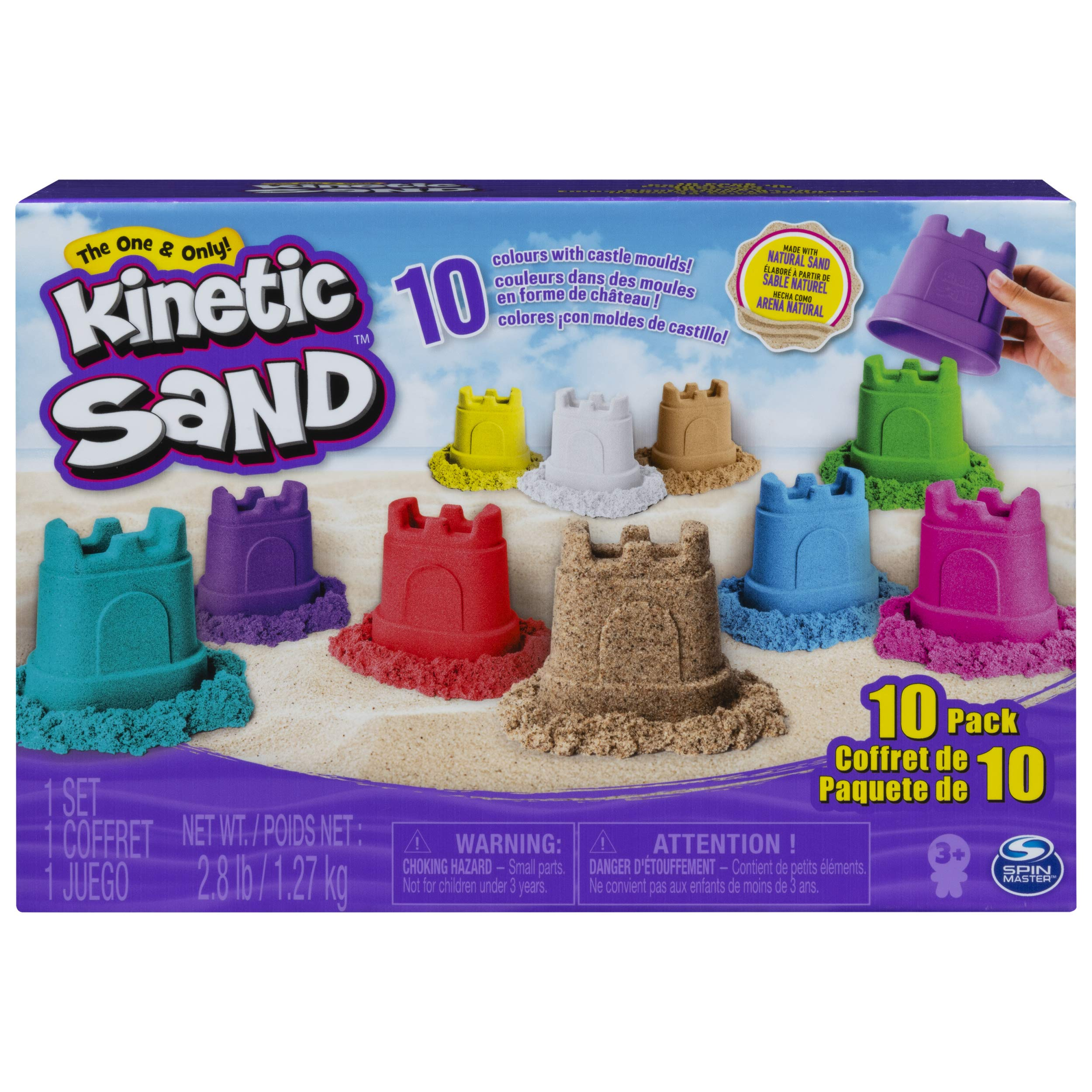 Kinetic Sand, Castle Containers 10-Color Pack for Kids Aged 3 & Up by Kinetic Sand