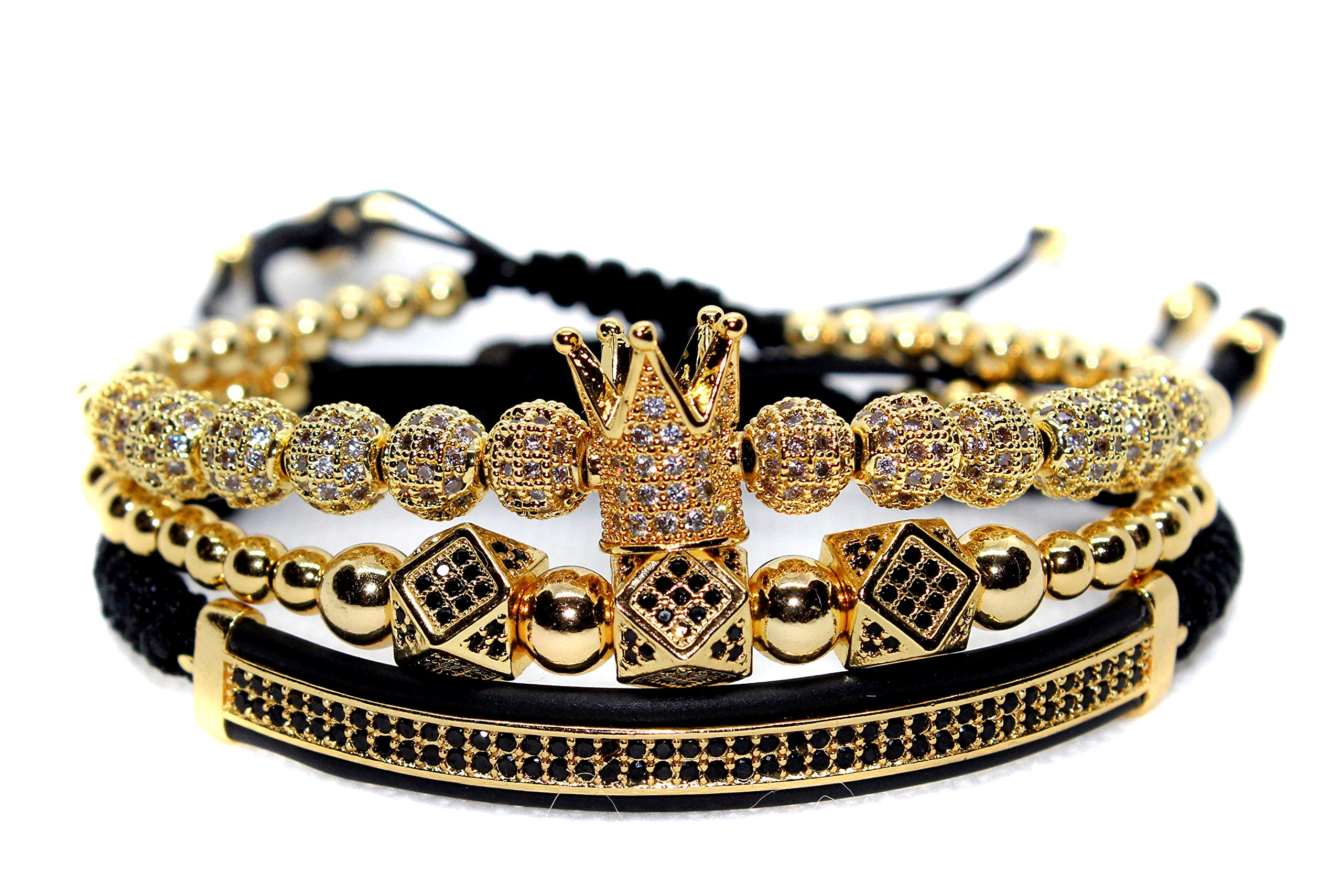 KOKOSHELL Royal Crown Jewels 3PCS Set - Gold/Silver Bracelets (Gold) by KOKOSHELL
