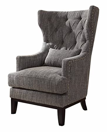 Homelegance 1217F1S Accent Chair With Kidney Pillow, Dark Grey/White Fabric