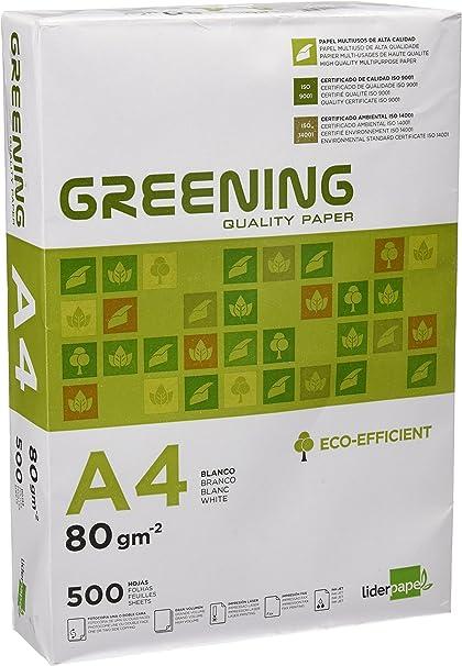 Liderpapel Greening - Papel Fotocopiadora, A4, 80 Gramos, Paquete de 500 Hojas: Amazon.es: Oficina y papelería